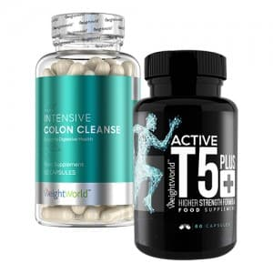 front view of intensive colone cleanse and active t-5 plus bottles