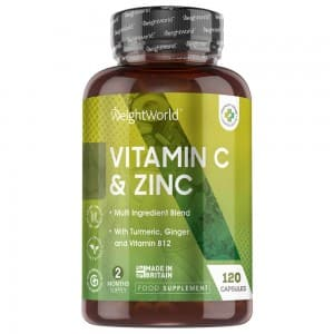 Vitamin C & Zinc Capsules - Natural Wellbeing Supplement By WeightWorld