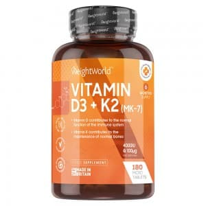 Vitamin D3 + K2 Tablets | Food Supplement for Maintenance of Normal Bones and Normal Functioning of Immune System