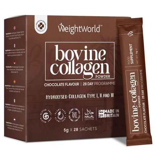 Bovine Collagen Powder - 4000mg 28 Sachets - Chocolate Flavoured - Hydrolysed -