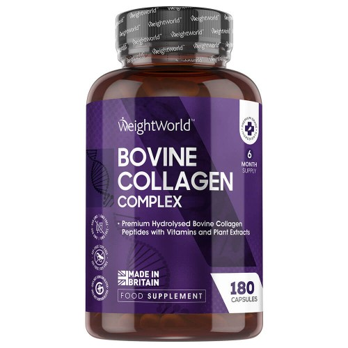 Premium Bovine Collagen - 180 Capsules - Hydrolysed Collagen Peptides with Vitamin B7 & B12 (6 Months Supply)