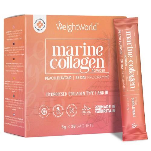 Marine Collagen Powder - 2600mg per Serving - 5g x 28 Sachets - Peach flavoured Anti-ageing Supplement