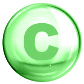 green circle with c written inside to represent vitamin c