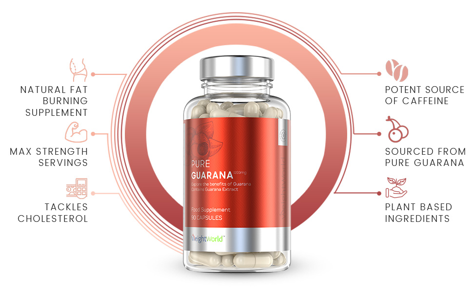 front view of weightworlds Pure guarana capsules bottle
