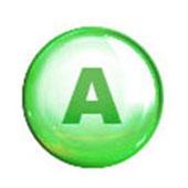 Green Circle with Capital A for Retinol & Vitamin A