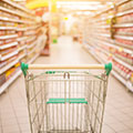 image of a shopping trolley in a supermarket to show how to shop
