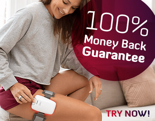 image of a woman wearing silk'n product on leg with money back sticker
