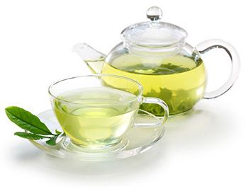 image of cup and teapot of green tea for morning detox