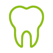 cartoon image of a green tooth to represent benefits to dental wellbeing