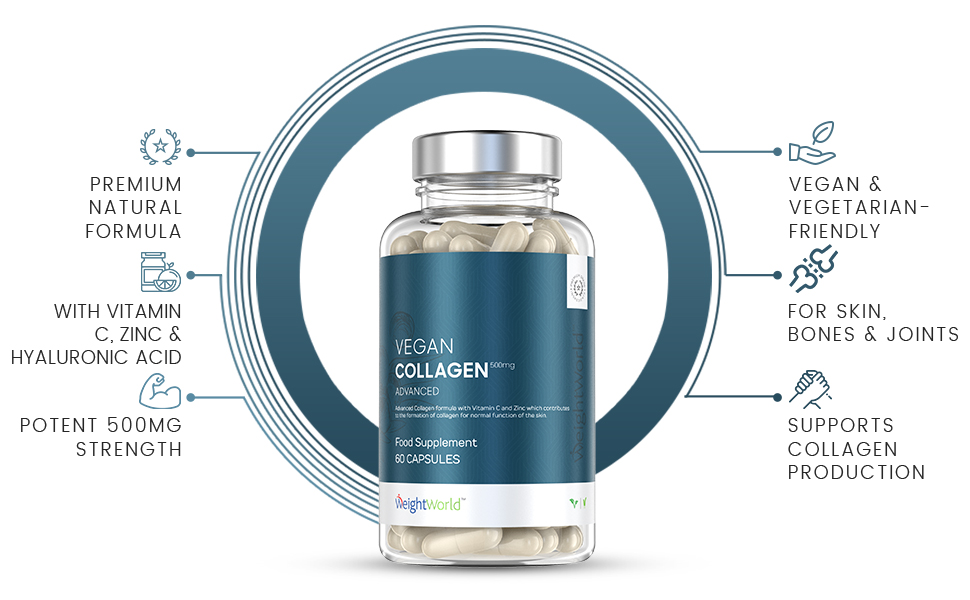 front view of bottle for weightworlds vegan collagen advanced