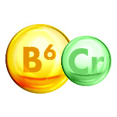 two circles representing molecules of vitamin b6 and mineral chromium