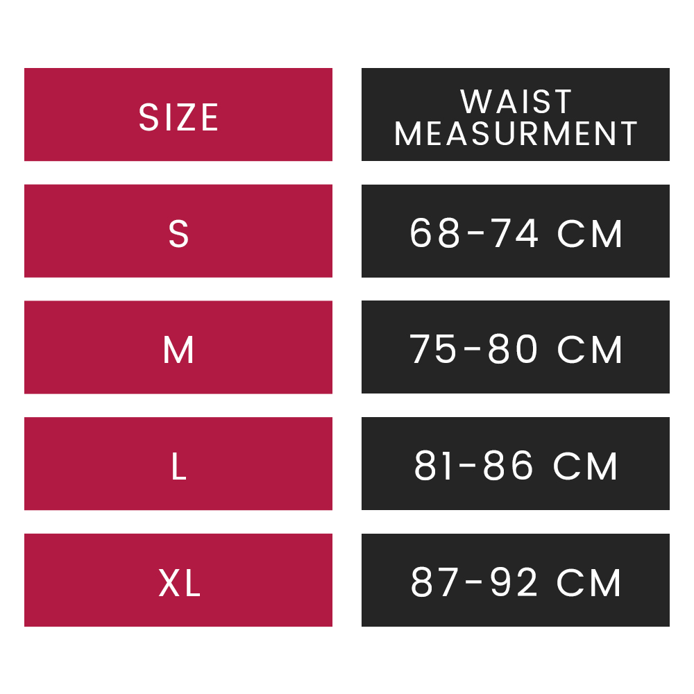 size guide for waist trainer showing waist measurement in cm