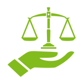 cartoon hand holding weighting scales to represent balance
