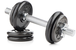 image of a dumbell and weights to show how it works