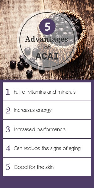 infographic of the five advantages of pure acai berries