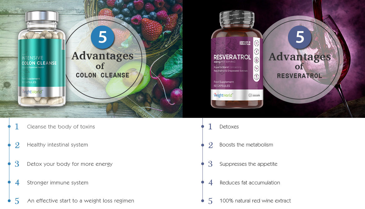 infographic showing benefits of resveratrol and colon cleanse
