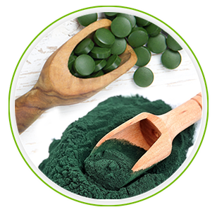two spoons full of spirulina capsules and spirulina powder